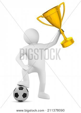soccer player with ball and trophy cup. Isolated 3D illustration