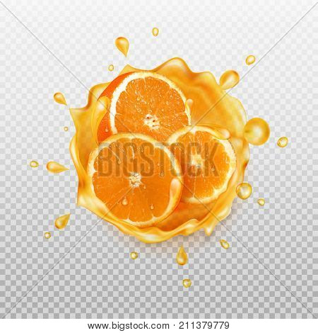 Orange juice. Realistic splash of juice with orange and orange slices. Fresh fruit. Transparent orange water splash. Vector illustration.
