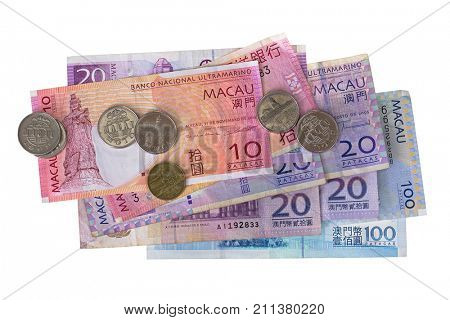 Different Macau banknotes coins money, Macanese Pataca (MOP), 10 20 100 isolated on white background