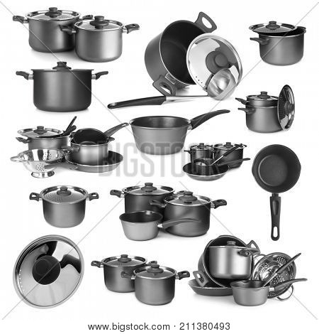 Set of kitchenware on white background