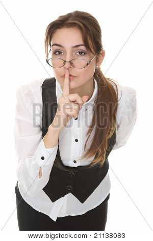 Beautiful business woman pointing her finger
