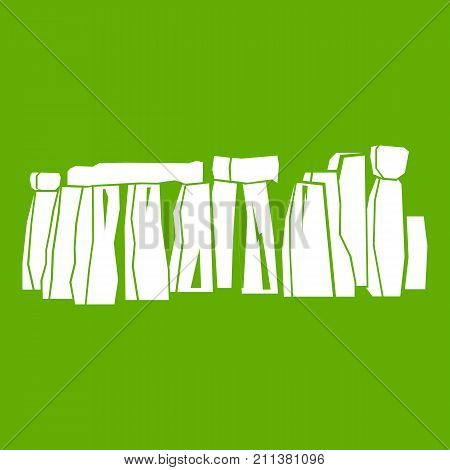 Stonehenge icon white isolated on green background. Vector illustration