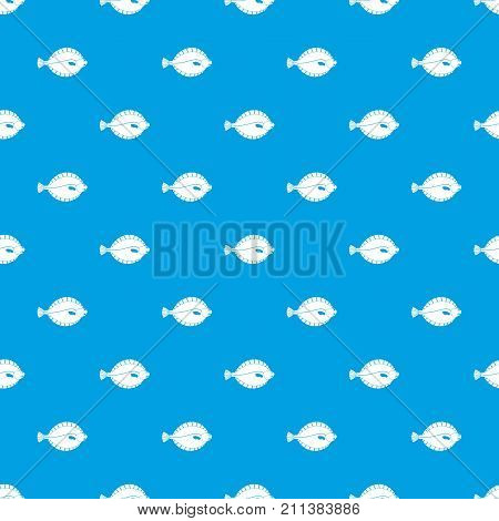 Flounder pattern repeat seamless in blue color for any design. Vector geometric illustration