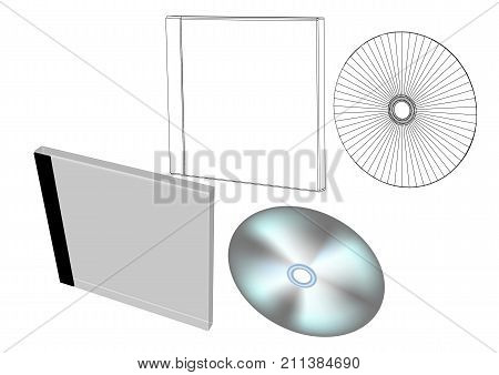 disc with box isolated on a whote background