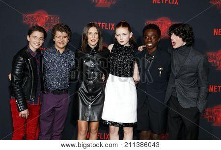 Noah Schnapp, Gaten Matarazzo, Millie Bobby Brown, Sadie Sink, Caleb McLaughlin and Finn Wolfhard at the Netflix's season 2 premiere of 'Stranger Things' held in USA on October 26, 2017.