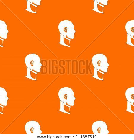 Cervical collar pattern repeat seamless in orange color for any design. Vector geometric illustration