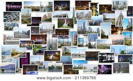 Collage with Guangzhou Canton TV Tower, many skyscrapers, Buddha statues in Guangzhou, China