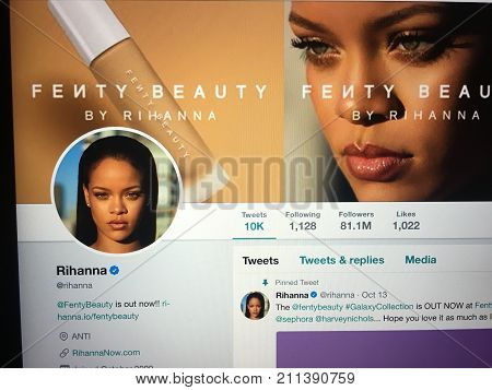 Wuhan China, 30 october 2017: Singer Rihanna official twitter account website page on a laptop screen