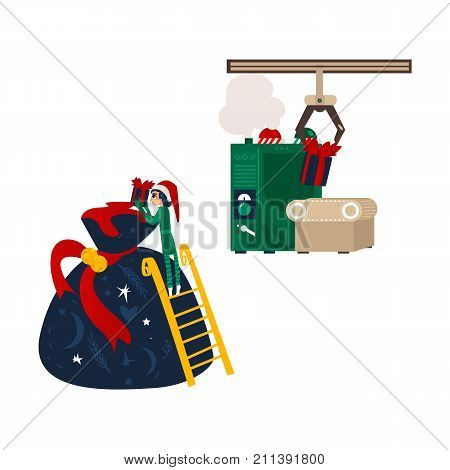 Santa workshop Christmas elf putting a present into huge bag, gift making machine, flat cartoon vector illustration isolated on white background. Santa present bag, Christmas elf and gift conveyer