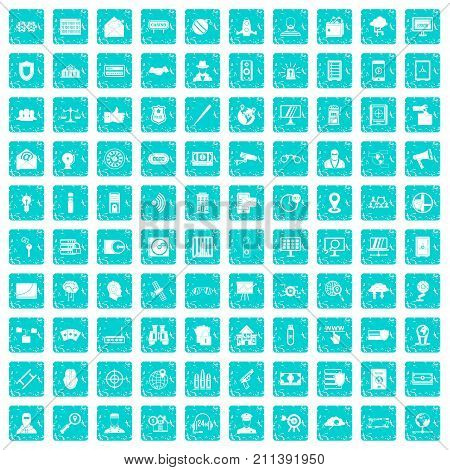 100 security icons set in grunge style blue color isolated on white background vector illustration