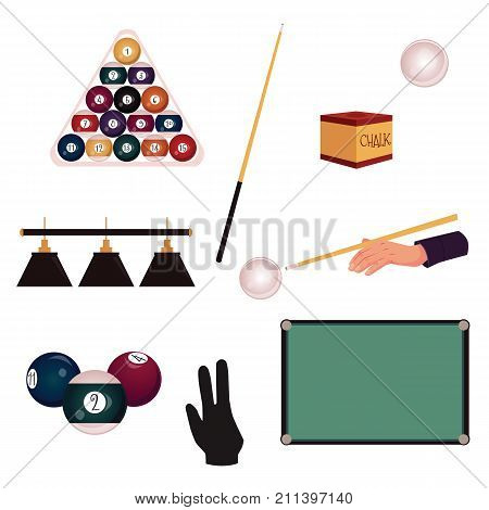 Set of flat style pool, billiard, snooker objects - table, cue, balls, triangle rack, glove, chalk, light, vector illustration isolated on white background. Vector set of pool, billiard game objects