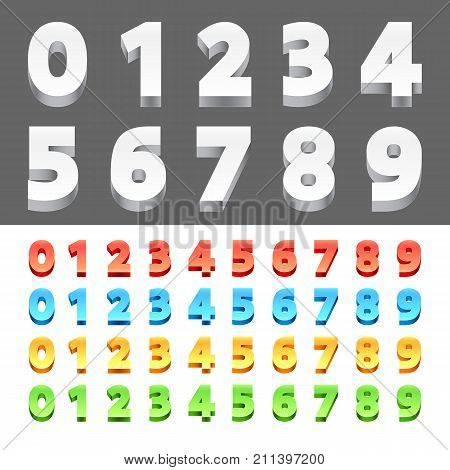 Collection of 3d numbers from 0 to 10. Different color variations