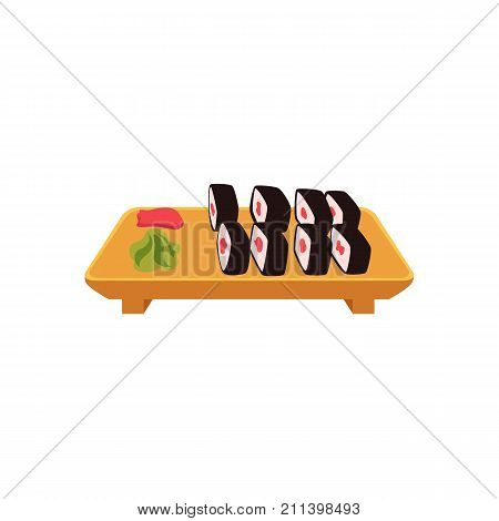 Plate of Japanese sushi set, side view cartoon style vector illustration isolated on white background. Sushi, maki roll serving plate with ginger and wasabi, Asian, Chinese, Japanese cuisine