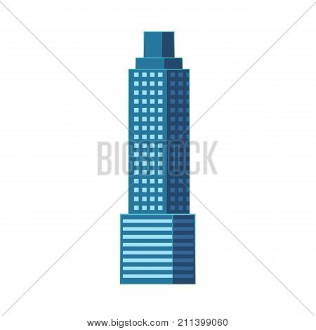 Skyscraper, modern business center, high rise building, flat style vector illustration isolated on white background. Flat high rise building, sky scraper, business center