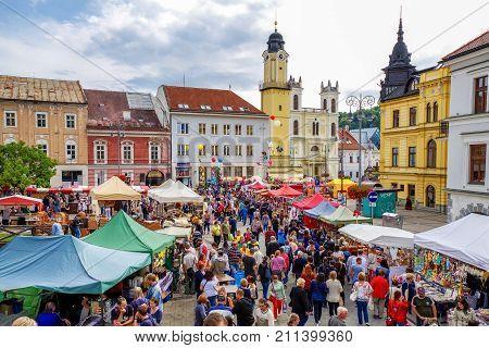BANSKA BYSTRICA SLOVAKIA - SEPTEMBER 9: Tradional market called Radvansky jarmok in centre of city on Spetember 9 2017 in Banska Bystrica
