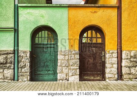 Two Doors On Buildings