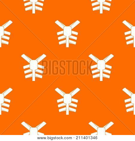 Human thorax pattern repeat seamless in orange color for any design. Vector geometric illustration