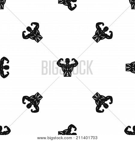 Athletic man torso pattern repeat seamless in black color for any design. Vector geometric illustration