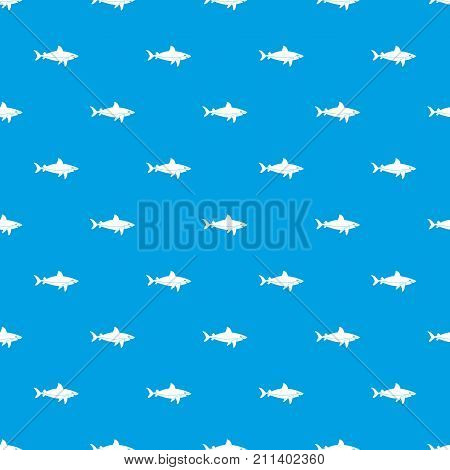 Shark fish pattern repeat seamless in blue color for any design. Vector geometric illustration