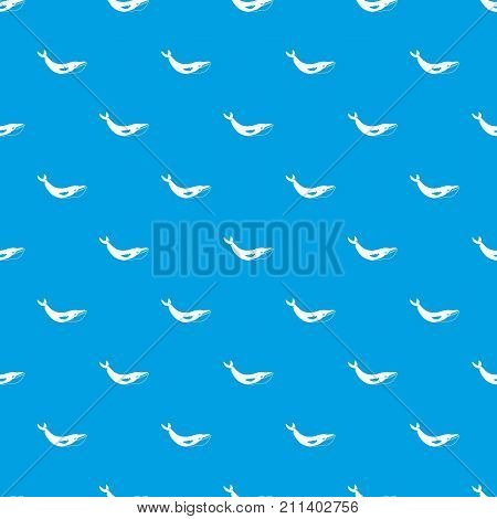 Whale pattern repeat seamless in blue color for any design. Vector geometric illustration