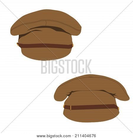 Vector illustration set collection military or army hat cap with visor template design.