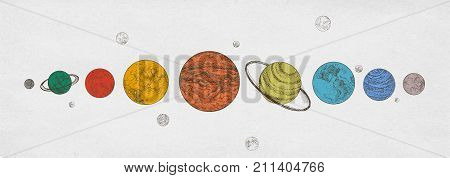 Colorful planets of Solar system arranged in horizontal row against monochrome background. Celestial bodies in outer space. Natural cosmic objects. Gorgeous semi-colored vector illustration poster