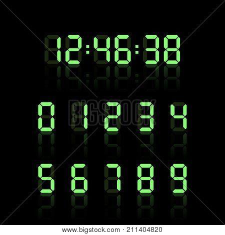 Digital clock number set. Electronic figures. Vector illustration. Eps 10.