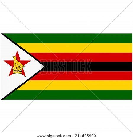 Vector illustration Zimbabwe flag icon isolated on white background. Rectangle national flag of Zimbabwe. Flag button