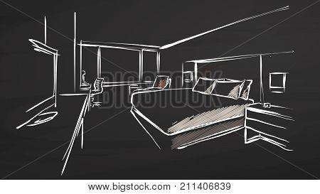 Hotel Interior Design Concept On Chalkboard