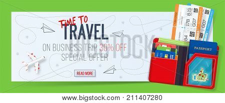 Special offer on business Travel. Business trip banner. Tickets with wallet. Air travel concept. Business travel illustration. 30% off.