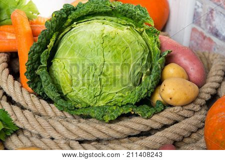 variety of raw vegetables to cooking a french pot-au-feu