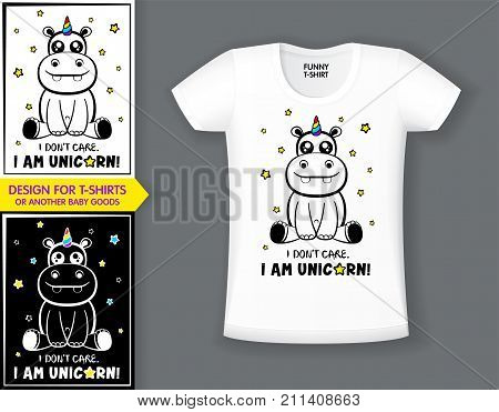 Cute hippo magical unicorn fantasy cute animal for design t-shirts print. vector illustration