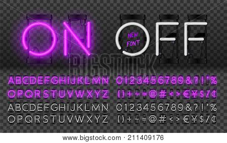 Big purple neon set glowing alphabet vector Font. Glowing text effect. On and Off lamp. Neon Numbers and punctuation marks. isolated on transparent background.