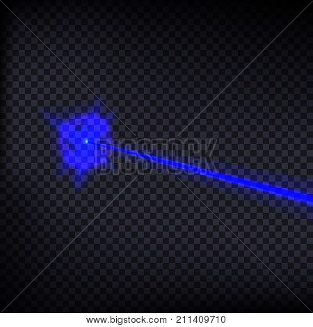 Abstract blue laser beam. Laser security beam isolated on transparent background. Light ray with glow target flash. Vector illustration. Eps 10.