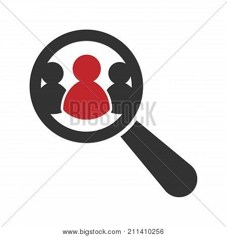 Magnifying glass looking for people icon. Recruitment icon. Vector illustration. Eps 10.