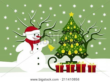 vector snowman ringing bell and sledge with christmas tree and gifts in snowy landscape