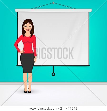 Businesswoman giving presentation with projector screen. Presentation concept Vector illustration. Eps 10.
