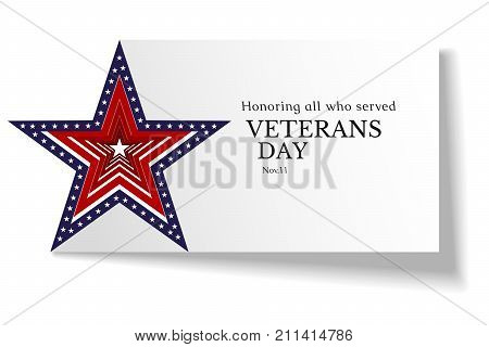 Banner On Veterans Day In The Usa Vector