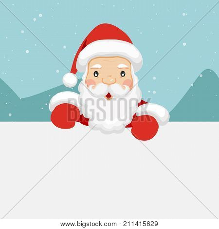 Santa Claus holding empty sign. Cute cartoon santa claus. Christmas concept. Vector stock.