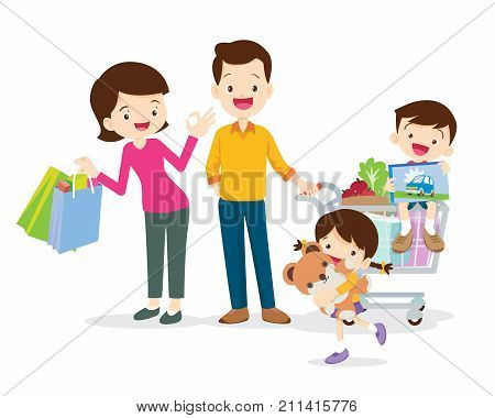 family shopping characters isolated on white background cartoon styleDad son mom daughter are shopping.