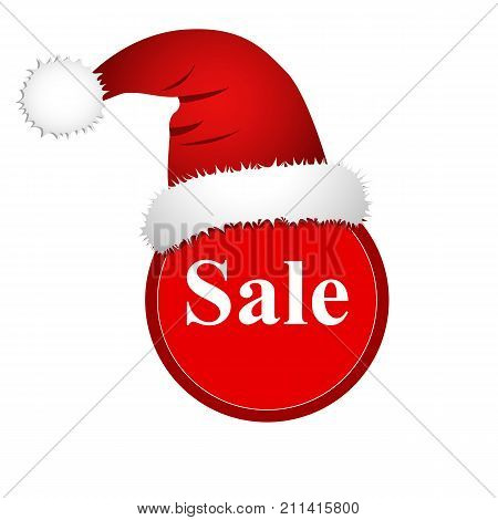 Christmas Sale, Banner With Santa Claus Hat.