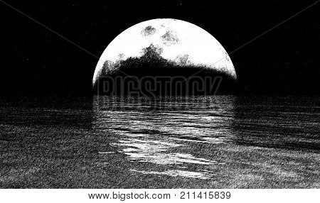 Sketchy full moon and the ocean 3D illustration background conceptual natural background