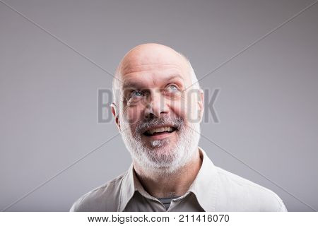 Exaggerated Old Man Smile Expression