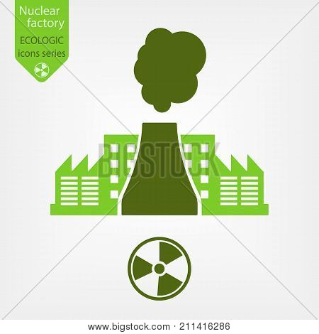 Nuclear factory icon. Thermal power engineering in flat design. Nuclear danger symbol.