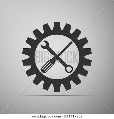 Service tool symbol. Maintenance symbol - screwdriver, spanner and cogwheel icon isolated on grey background. Setting icon. Flat design. Vector Illustration