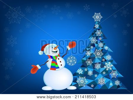 Abstract polygonal Christmas tree and snowman in red mittens - vector