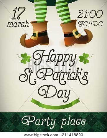 Creative Pamphlet, Banner or Flyer design with illustration of Leprechaun legs for St. Patrick s Day Party.