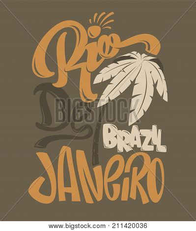 Shirt print  Rio de Janeiro vector illustration.