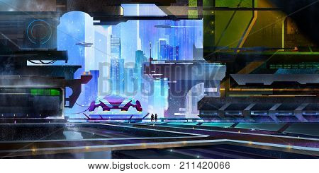 art is a fantastic city of the future. landscape with a spaceport in the style of cyberpunk.