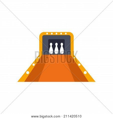 Icon of bowling alley. Game, strike, pin. Bowling concept. Can be used for topics like sport, competition, tournament